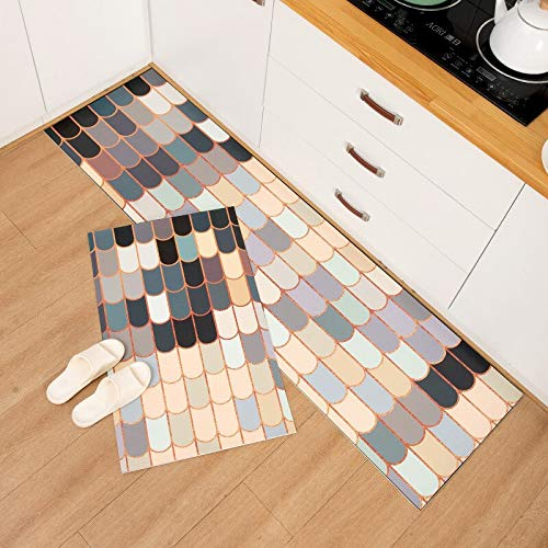 OPLJ Alfombra de cocina geométrica impermeable a prueba de aceite alfombra de cocina cocina cocina cocina baño alfombra antideslizante A3 50 x 160 cm