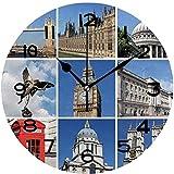 tuobaysj Reloj De Pared Reloj De Pared Silencioso, Fácil De Leer, Redondo, Reloj De Pared, Collage De Monumentos De Londres, Reino Unido