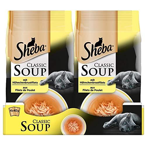 Sheba Classic Soup – Katzenfutter als Snack zur Ergänzung – Hühnchenbrustfilets in einer köstlichen Suppe – 48 x 40g