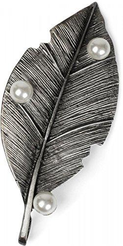 styleBREAKER Ciondolo Magnetico a Forma di Foglia con Perle per Sciarpe, Foulard o Poncho, Spilla, Donna 05050031, Colore:Argento