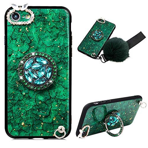 CESTOR Goldfolie Strass Hülle für Samsung Galaxy A21,Ultra Dünn Marmor Muster Kristall Diamant 360 Ring Halter Schutzhülle HandyHülle mit Haarball für Damen Mädchen,Grün