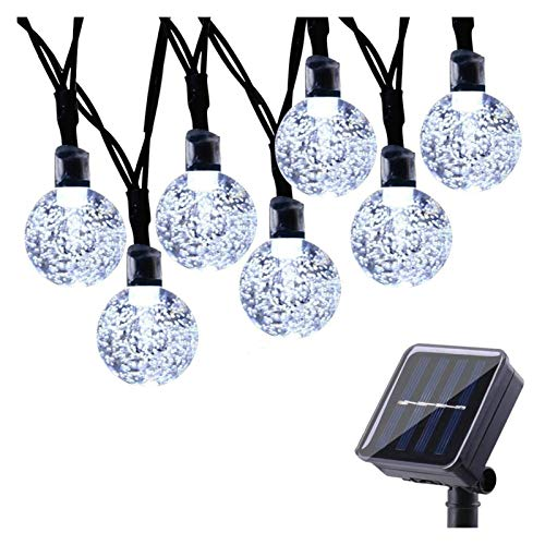 HCCHZR Solar String Light Outdoor, 39Ft 100 LED Crystal Ball 8 Modes Waterproof Globe Lights for Garden, Patio, Home, Wedding, Party Outdoor Wall Decoration