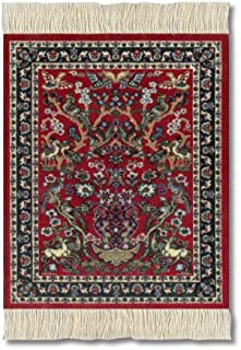 Lextra (Tree of Life) CoasterRug red Blues and White 5.5 x 3.5 Set of Four