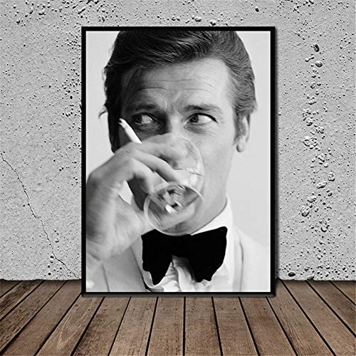James Bond Roger Moore Poster Drucke Wandkunst Bilder Wohnzimmer Wohnkultur Druck auf Leinwand 50x70cm No Frame