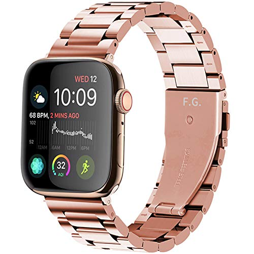Fullmosa Metal Strap Compatible with Apple Watch Strap 38mm 40mm,Stainless Steel Replacement Band Compatible with iWatch Series 6 SE 5 4 3 2 1 Strap, Rose Gold