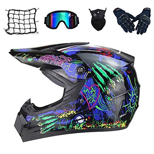 NKFDLY-Kinder Crosshelm Kinder Motorradhelm Motorradhelm Kind,Motorrad helm Motocross Helme Motocrosshelm Cross Helm (5 Stück) (L)