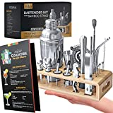 Teavas Bartender Kit with Bamboo Stand | 25-Piece Bar Essentials Set Comprising Stainless Steel Bar Tools | Sturdy Cocktail Shaker | Bar Tool Set | Recipe Menu, for Clubs, Lounge & Entertainment