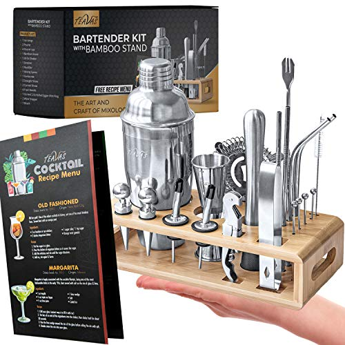 Teavas Mixology Bartender Kit with Bamboo Stand   25-Piece Bar Essentials Set Comprising Stainless Steel Bar Tools   Sturdy Cocktail Shaker   Bar Tool Set   Recipe Menu, for Clubs, Lounge & Party