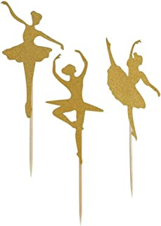 24 Pack of Glitter Gold Ballerina Cupcake Toppers for Birthday Party Baby Shower Wedding Bridal Shower Cake Decoration