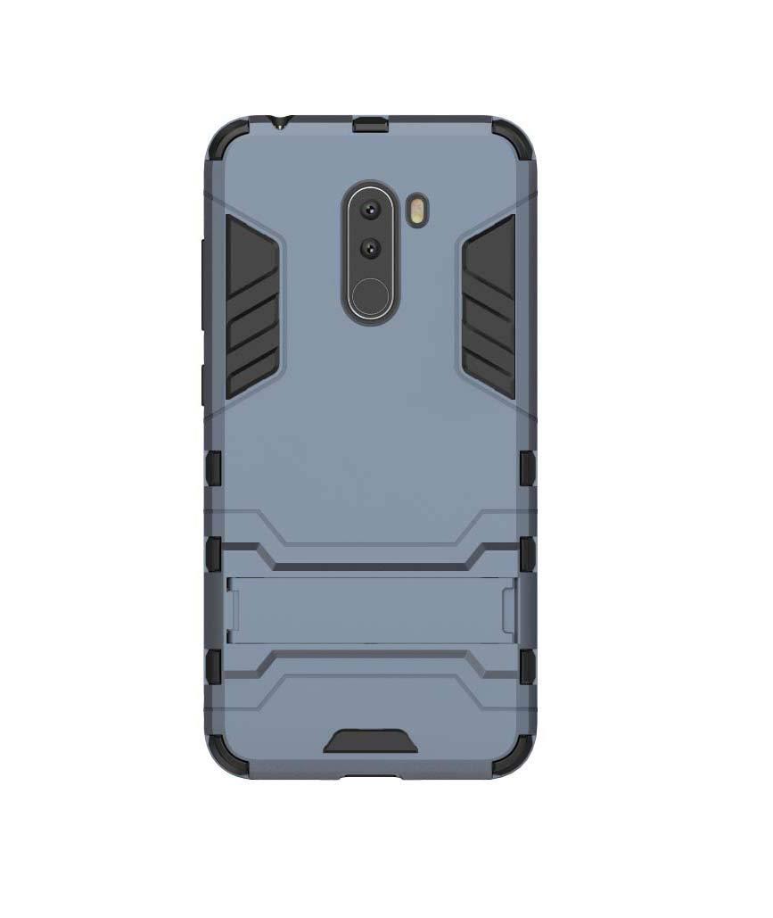 FANFO Funda Xiaomi Pocophone F1, [Tough Armor Series] Robusta Anti-Arañazos Panel Trasero + Parachoques TPU a Prueba de choques + Soporte Plegable.Azul Marino: Amazon.es: Electrónica