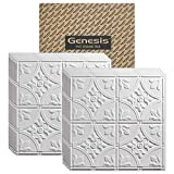 Genesis 2ft x 2ft White Antique Ceiling Tiles - Easy Drop-in Installation – Waterproof, Washable and Fire-Rated - High-Grade PVC to Prevent Breakage - Package of 12 Tiles