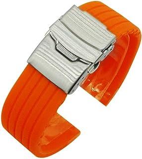 Pulseira de substituição rápida para relógio de silicone universal 24 MM Bracelete de liberação rápida (laranja)