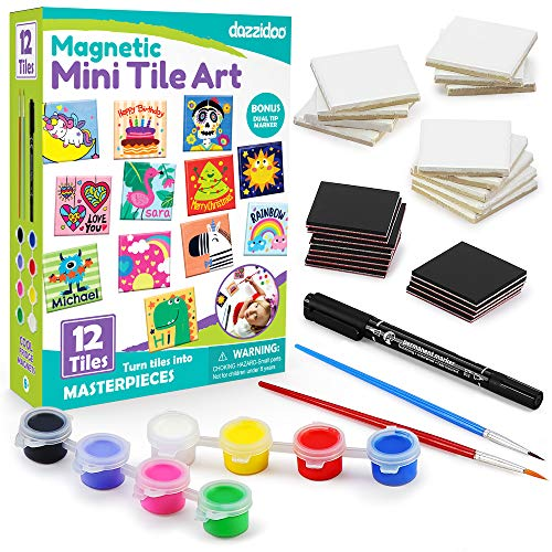 Magnetic Mini Tile Art - DIY Craft Kit; Design and Paint Magnet Tiles - Kids Paint Arts & Crafts Project; Includes 12 Tile Magnets, 8 Paint Colors, 2 Brushes and Marker; Fun Ceramic Tile Painting Kit