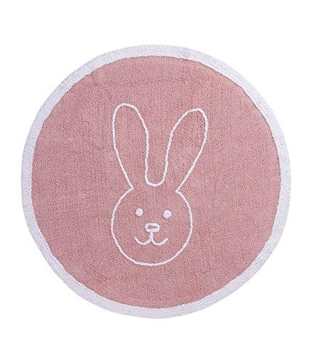 Happy Decor Kids hdk-246 Tapis lavable Round Bunny, roso-bianco 140 cm