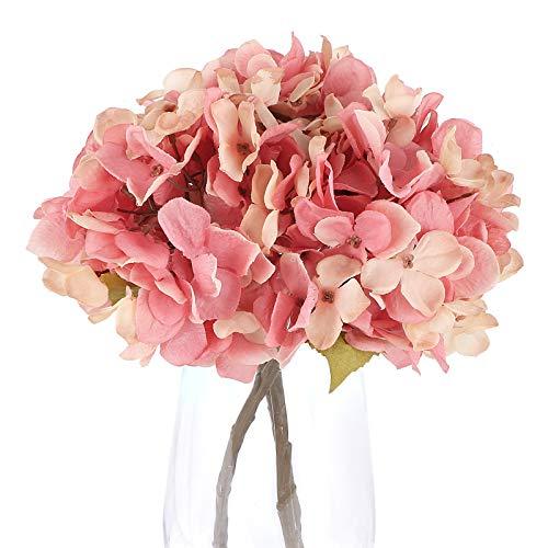 VINFUTUR 3 Ramos de Hortencias Artificiales Decorativas Flores Artificiales Hortencia Falsas con Tallo para Decoración...