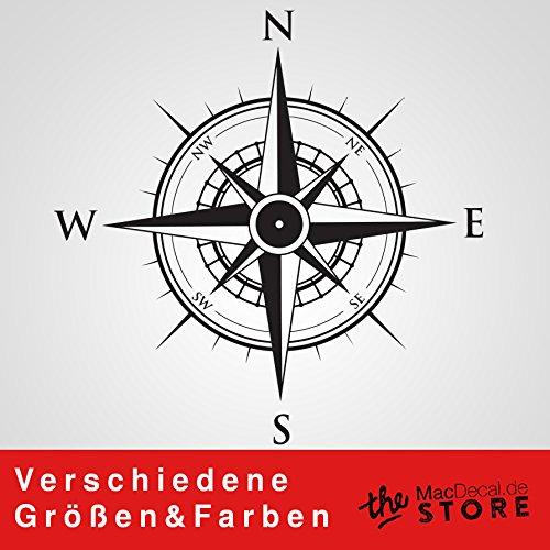 KOMPASS Aufkleber Wandtattoo Wandaufkleber Sticker (20 (B) x 20 (H) cm, Schwarz)