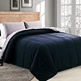DOWNCOOL Reversible Down Alternative Comforter- All Season Ultra Soft Duvet Insert 4 Loops-Box Stitched-...