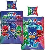 PJ Masks - Juego de cama infantil (135 x 200 cm y 80 x 80 cm, 100% linón, con cremallera), diseño de búhos, color azul y rojo