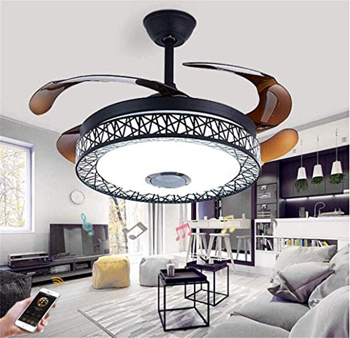 LaMP-XUE 42-inch Smart Bluetooth muziek-plafondventilator met verlichting en afstandsbediening, intrekbare lemmet-ventilatorlicht-lamp-verlichting-bevestiging 3 heldere kleuren 3 windsnelheden