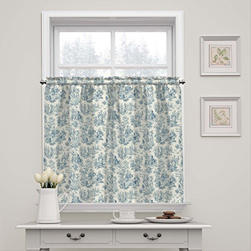 WAVERLY Charmed Life Rod Pocket Curtains for Kitchen and Bathroom, Double Panel, Living Room, Cornflower