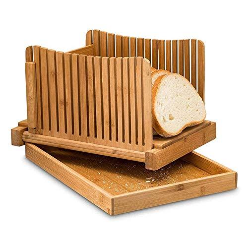 WHCQ Faltbare Brot Schneiden Loaf Slicer Manuell Brot Allesschneider Toast Slice Brotschneidemaschine Für Selbst Gemachtes Brot, Laib Kuchen, Bagels Kompakt Mit Krümel Tablett Funktioniert