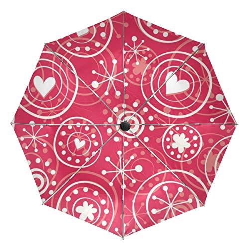 Paraguas de Viaje pequeño a Prueba de Viento al Aire Libre Lluvia Sol UV Auto Compacto 3 Pliegues Cubierta de Paraguas - Rojo Retro Copos de Nieve Corazones de Patrones sin Fisuras