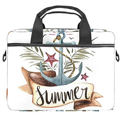 Laptop Bag Watercolor Anchor Palm Leaves Notebook Sleeve with Handle 13.4-14.5 inches Carrying Shoulder Bag Briefcase