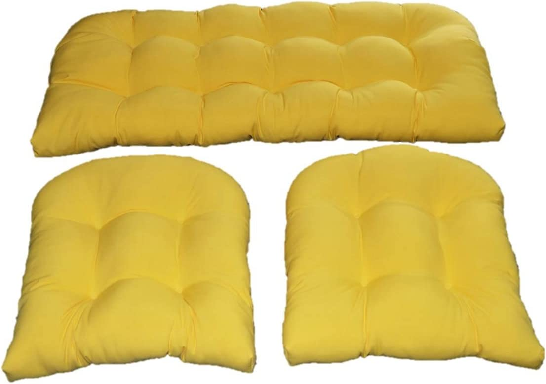 Yellow Solid Fabric Cushions for Matc Settee Max 50% OFF Loveseat Wicker 2 Max 72% OFF