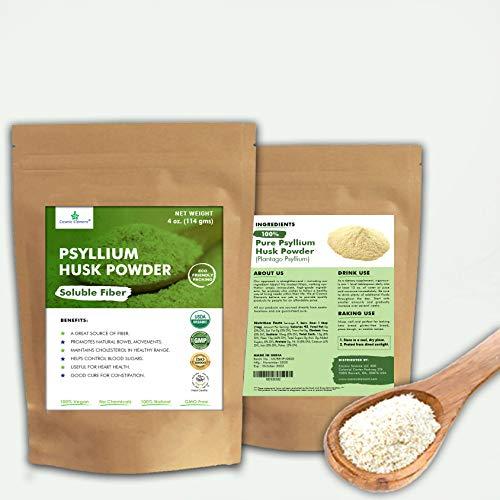 Psyllium Husk Powder USDA Organic 4 Oz / Keto Baking Bread , Easy Mixing Fiber for Regularity, Finely Ground !