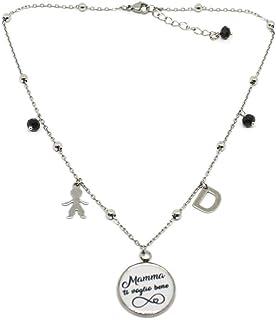 """Collana girocollo ciondolo con scritta""""Mamma ti voglio bene"""" simbolo infinito e charms"""