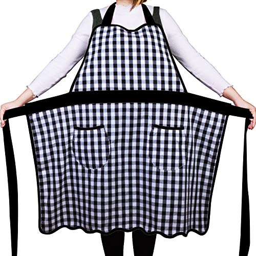 Love Potato 100% Cotton Vintage Gingham Kitchen Apron with Two Pockets, Small to Plus Size Ladies, Great Gift for Wife or Ladies, Black
