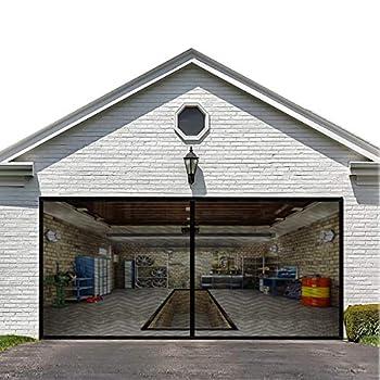 Magnetic Garage Door Screen for Double Garage Doors 16x7FT- Reinforced Fiberglass Door Screen,Stronger 2350g(5.2LB) High Energy Magnets ,Hands Free Magnetic Screen Door