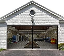 Magnetic Garage Door Screen for Double Garage Doors 16x7FT- Reinforced Fiberglass Door Screen,Stronger 2350g?5.2LB? High Energy Magnets ?Hands Free Magnetic Screen Door