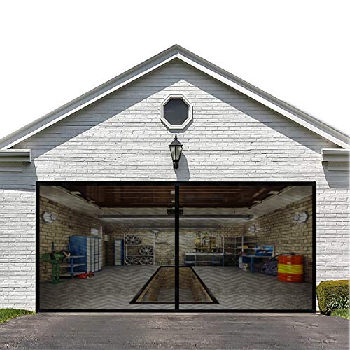 Magnetic Garage Door Screen for Double Garage Doors 16x7FT- Reinforced Fiberglass Door Screen,Stronger 2350g(5.2LB) High Energy Magnets ,Hands Free Magnetic Screen Door