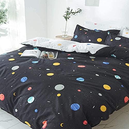 Weltraum BettwäSche Set Sternenhimmel Galaxy Bettbezug FüR Kinder Jungen MäDchen Schlafzimmer,Planet Space Cosmos TröSter Set,Haustextilien,3 Teilig (1 Bettbezug 2 Kissenbezug)