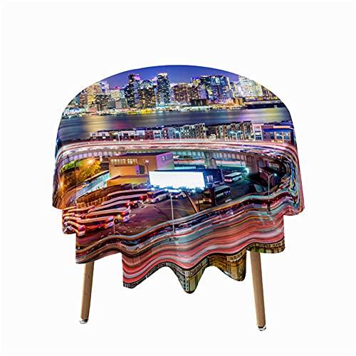 Highdi Impermeable Mantel de Redondo, Antimanchas Lavable Manteles 3D Estampado Paisaje Urbano Moderno Decoración para Salón Cocina Comedor Mesa Exterior (Puente Rojo,Redondo 200cm)
