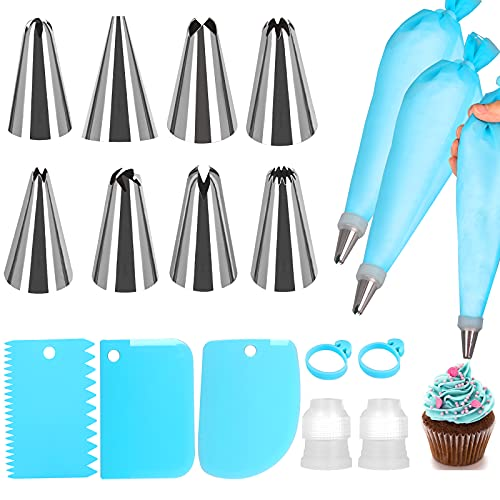 Eokeey Juego de boquillas para manga pastelera, 17 piezas, con manga pastelera de acero inoxidable, bolsas de silicona reutilizables, adaptador, raspador de tartas para cupcakes, decoración de tartas