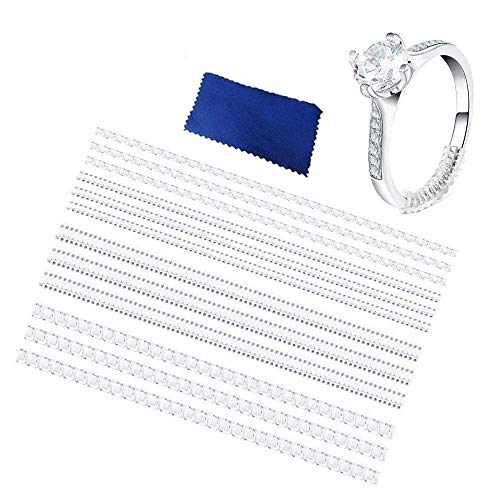 Ring Size Adjuster for Loose Rings, AOLVO 12 Packs Invisible Ring Tightener Snuggies Clear Ring Size Reducer Ring Fitter Jewelry Guard for Men Women, with Polishing Cloth, 3 Sizes (2/3/5mm)