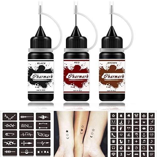 Temporary Tattoos Kit Semi Permanent Tattoo, Jagua Gel Freehand Gel/Ink 84 Pcs Free Tattoo Stickers Stencils,DIY Tattoos Fake Freckles, Full Kit 3 Bottles(Black Red Brown)