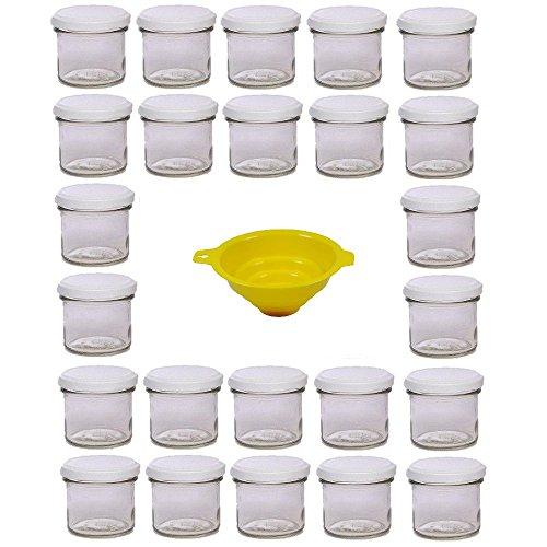 Viva Haushaltswaren - 24 x Marmeladenglas 125 ml mit weißem Verschluss, runde Sturzgläser als Einmachgläser, Gewürzgläser, Glasdosen etc. verwendbar (inkl. Trichter)