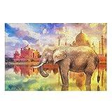O5KFD&8 Puzzle Inteligente de elefantes, tamaño grande, 200/300/500/1000 piezas, puzle para adultos, niños, jóvenes, familia blanca, 1000 piezas