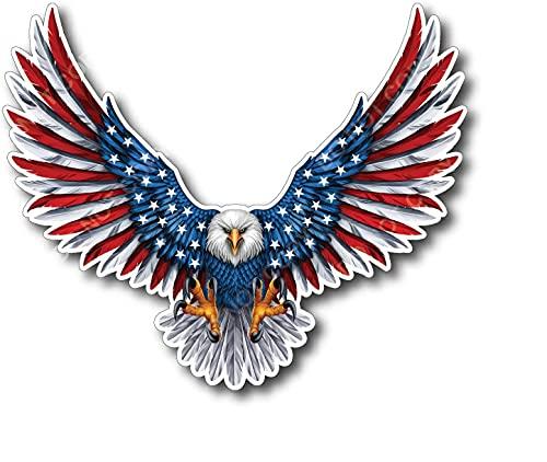 Vinyl Junkie Graphics Bald Eagle American Flag Sticker