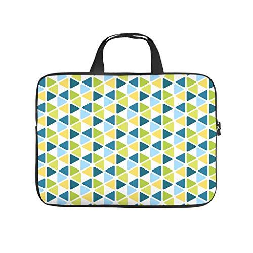 Colorido triángulo geometría abstracta bolsa de ordenador portátil diseño bolsa suave resistente al agua portátil maletín con asa portátil para mujeres hombres blanco 12 pulgadas