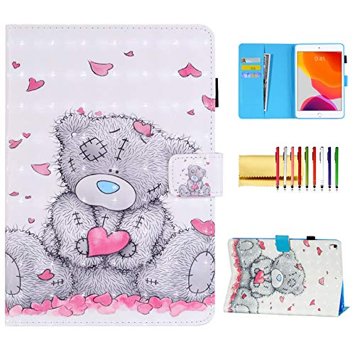 Wallet Case for 10.2-inch iPad 8th/7th Generation (2020/2019 Model), Techcircle Slim Fit 3D Effect PU Leather Stand Folio Cover with Card Holder & Pencil Loop, iPad Air 3/ Pro 10.5 Case, Love Bear