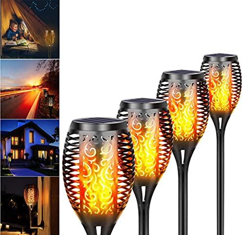RunSnail Solar LED Gartenleuchten 4 Pack IP65 Wasserdicht,Solarlampen,Tanzende flackernde Flamme LED-Solarlichter Auto Ein/Aus Halloween Weihnachtsdekoration Laterne für Patio Garden Driveway Weg