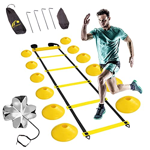 Sooair Koordinationsleiter Fussball Trainingszubehör Koordinationstraining 6m Fussball Leiter Speed Agility Training Kit für Agilitätstraining Speed Training Ladder für Fußball Basketball