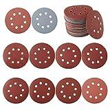 100 discos de lijado de 125 mm, disco de lija circular, papel de lija lijadora, papel de lija de madera para grano de 80/180/240/320/400/800/1000/1500/2000/3000 (estilo A)