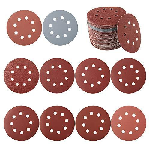 100 dischi abrasivi circolari da 125 mm, carta abrasiva levigatrice, carta vetrata per grana 80/180/240/320/400/800/1000/1500/2000/3000 (stile A)