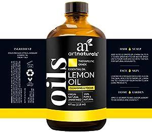 ArtNaturals Lemon Essential Oil 4oz - 100% Pure Lemons Oils - Therapeutic Grade Best for Skin, Hair, Natural Healing Solution, Aromatherapy & Diffuser - 120ml Large Glass Bottle w/Dropper Kit #1