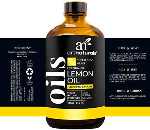 ArtNaturals Lemon Essential Oil 4oz - 100% Pure Lemons Oils - Therapeutic Grade Best for Skin, Hair, Natural Healing Solution, Aromatherapy & Diffuser - 120ml Large Glass Bottle w/Dropper Kit